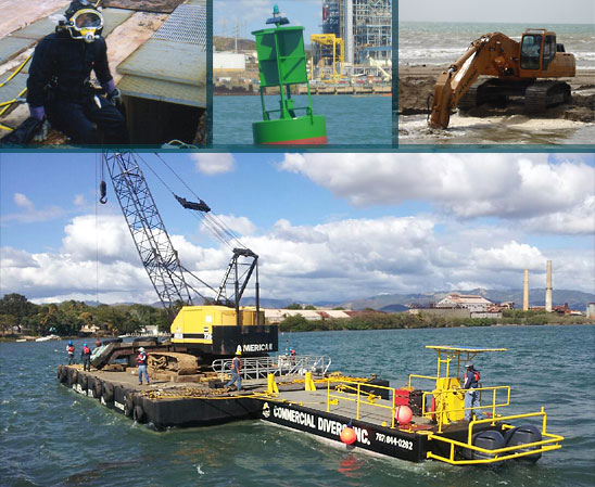 our services commercial diver, aids to navigation, marine construction