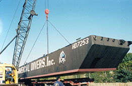 sectional barge on the truck